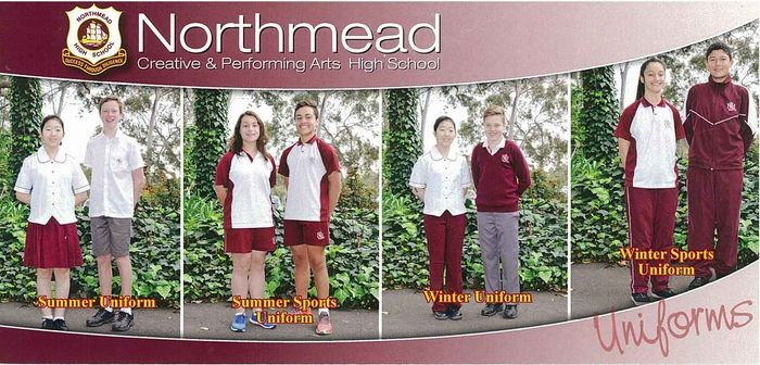 Students in the summer, summer sports, winter and winter sports uniforms.